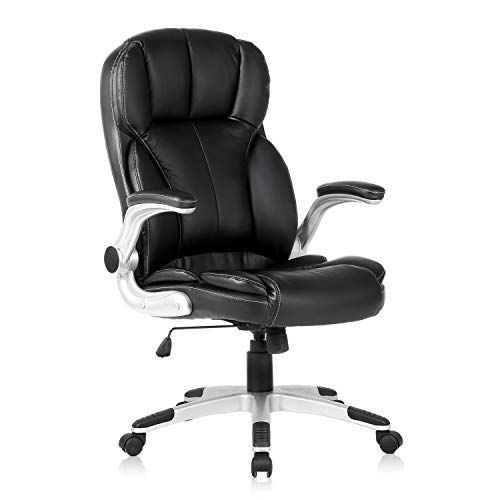 YAMASORO Ergonomic Executive Office Chair High Back Leather Computer Chair Big Tall Black Office Desk Chair with arms and Wheels Swivel for Heavy People