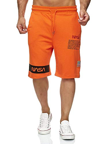 Red Bridge Herren Shorts Kurze Hose Sweat Pants Jogginghose NASA Logo USA M4854 Orange L
