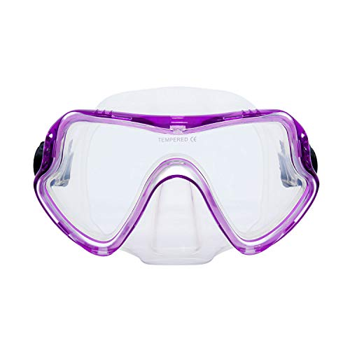 MOUNTDOG Snorkel Mask, Scuba Diving Goggles with 180 Degree View and Tempered Glass for Adults and Youth, Anti-Fog and Anti-Leak Snorkel Scuba Diving Mask