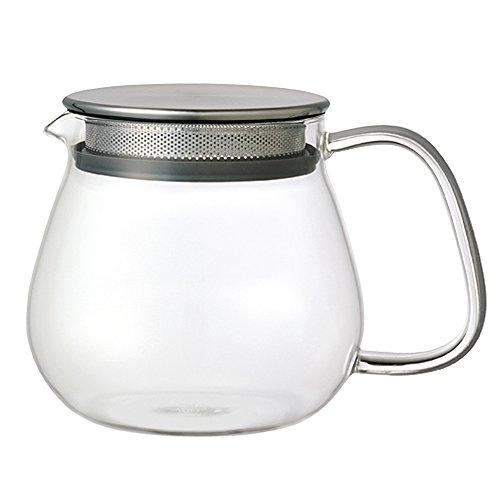 Kinto Unitea - 460 ml One Touch theepot - Hittebestendig - Glazen theepot met roestvrijstalen filter en deksel