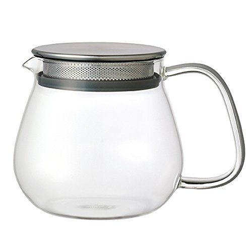 Kinto Stainless Unitea One Touch Teapot 460 ml. Heat-resistant glass teapot with stainless steel strainer and lid.