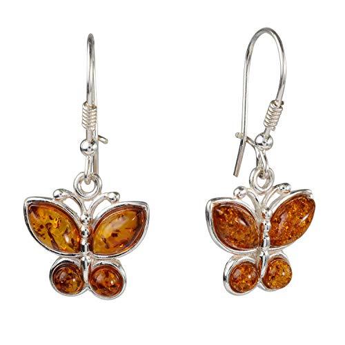 Sterling Silver and Baltic Honey Amber Kidney Hook Butterflies Earrings