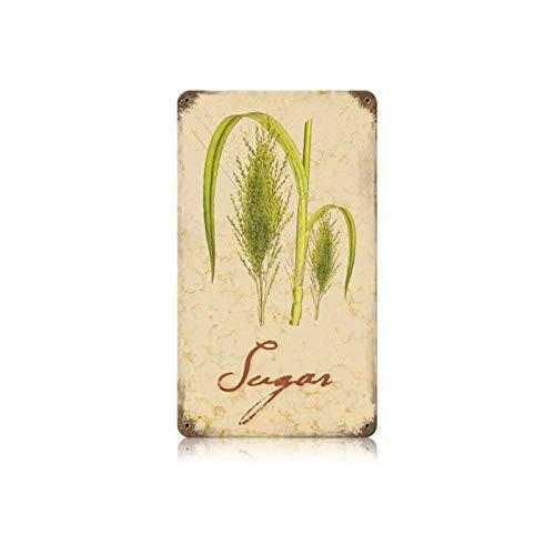Socker naturlig ekologisk blommig växt retro blomma växt metall plåtskylt väggkonst rustik bricka plakat trädgård hus skylt 20 x 30 cm