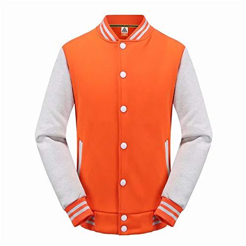 Chaqueta de deporte casual unisex con botones y chaqueta de terciopelo y costuras contrastantes, color naranja Gray, XXXL