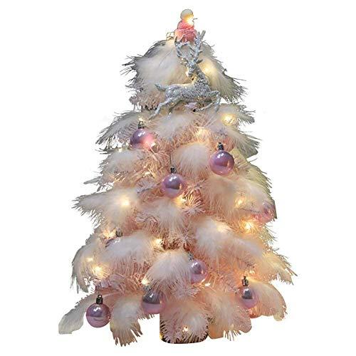 Home Equipment DYB Árbol de Navidad Decoración navideña Árboles Mini árbol de Navidad iluminado Árbol de pino de Navidad artificial con adornos de luces LED (árbol de Navidad) - Rosa 45 cm (18 pulg
