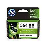 Get HP 564 | 2 Ink Cartridges | Black | Works with HP DeskJet 3500 Series, HP OfficeJet 4600 5500 C6300 6500 7500 Series, B8550, D7560, C510, B209, B210, C309, C310, C410, C510 | CB316WN Just for $34.89
