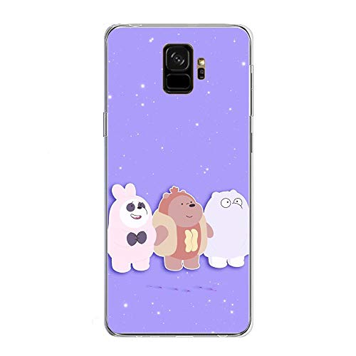 We Bare-Bear Animated 9 Clear Soft TPU Liquid Shell Protective Phone Case Cover for Samsung Galaxy S9