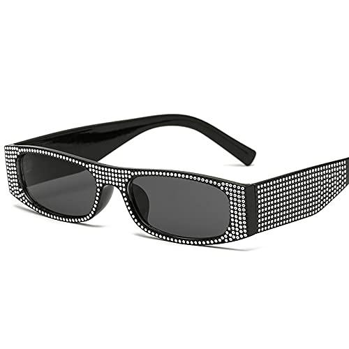 XUANTAO Gafas de Sol cuadradas pequeñas Europeas y Americanas, Gafas de Sol con Personalidad de Diamante de imitación, Hombres y Mujeres, Gafas clásicas con Personalidad de Tiro Callejero