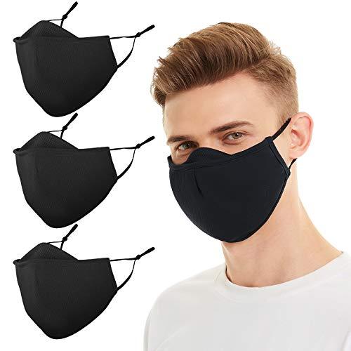 Assacalynn Large Black Cloth Mask with Filter Pocket, Adjustable Black Face Masks with Nose Shield, Reusable Large Black Masks, Breathable Black Cloth Masks for Men Women Adults - 3 Pack