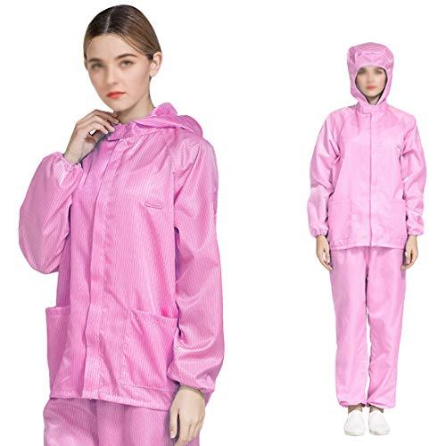 Care, beschermend pak, antistatische kledingpak, split stofband, ademend, wasbaar en herbruikbaar, roze, S