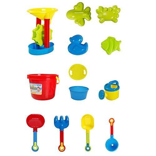 GANBADIE Juego de juguetes de arena para niños, juguetes de playa para niños, juego de arena, cubo de arena – formas, pala, rastrillo, juguete al aire libre, juguete de carga de juguete, caja de arena