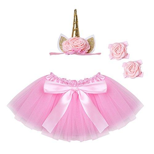 TiaoBug Bébé Fille Tutu Jupe de Danse Ballet Anniversaire Tulle Jupe + Anneau de Pied + Bandeau Licorne Déguisement Ensemble Fête Tutu Jupe de Soirée Jupe de Photographie Rose Taille Unique