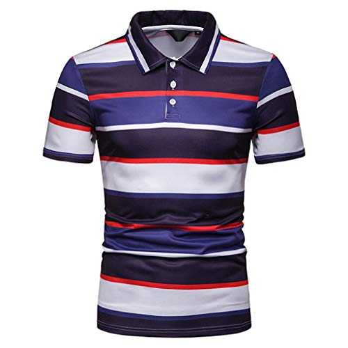Auifor herenmode short mouwen gestreept schilderen grote maten casual kanten blouse shirts