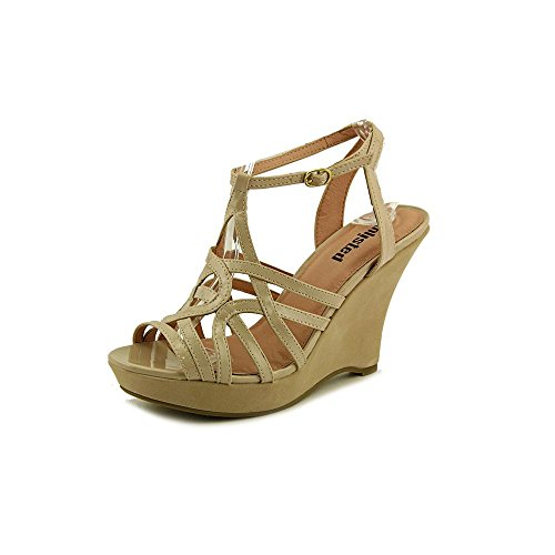 Kenneth Cole Unlisted Get Buzzy Womens Dressy Wedge Sandals Taupe Patent 9.5
