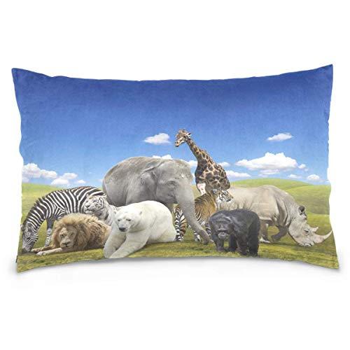 JONINOT Animal Lions Elephant Rhino Giraffes Bear Monkey Tiger Cotton Pillowcase Decorative Soft Pillow Case Cover Protector 20 X 30 Inches