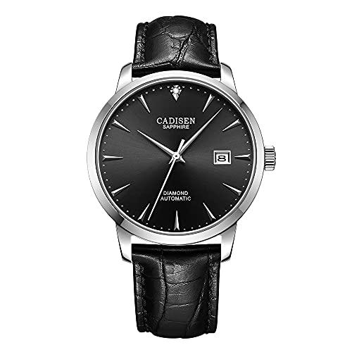 CADISEN Reloj de pulsera automático para hombre, cristal de zafiro, resistente al agua, Miyota 9015, Cinturón estampado de sol negro, 40MM,