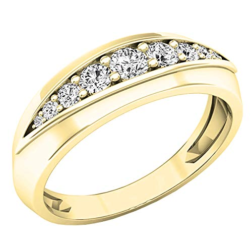 Anillo de boda apilable de 0,50 quilates de oro de 14 quilates con diamantes de imitación redondos para hombre