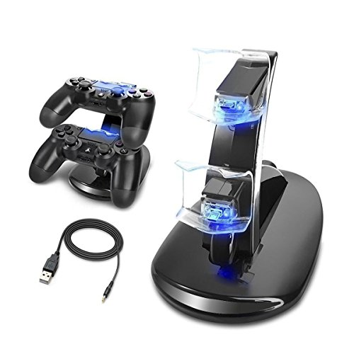 MINLUK Caricabatterie Controller PS4 Supporto Dual USB Charging Docking con indicatore LED per Sony Playstation 4 / PS4 Pro / PS4 Slim