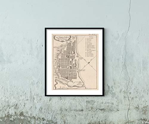 1764 Map|Chart Atlas La Vera-Cruz Ville du Mexique|Vintage Fine Art Reproduction|Size: 20x24|Ready to Frame