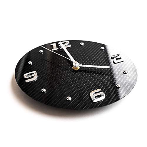 Reloj de lujo de 100% carbono, moderno reloj para hombre y mujer reloj deportivo para el salón diseño elegante para la cocina reloj de pared de taller de hecho a mano esfera de fibra de carbono