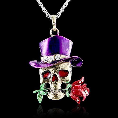 CXWK Tête de Mort Rose Fleur Pendentif Collier Femmes Dame Pull chaîne Bijoux Vintage crâne Collier Squelette Violet