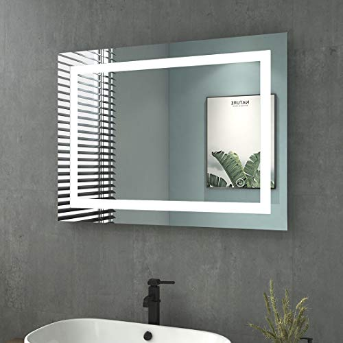 Heilmetz Badspiegel mit Beleuchtung LED Badezimmerspiegel Wandspiegel Lichtspiegel Wasserdicht IP44, Energieklass A++ (80x60cm Touchschalter + Beschlagfrei, Rechteck | Stil C)