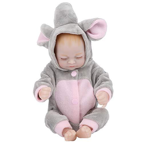 Muñeca de bebé, muñecas de bebé Reborn de simulación, modelo de bebés de silicona realista para niñas, ojos cerrados, juguetes de baño, regalos para niños(Muñeca Rosa Gris)