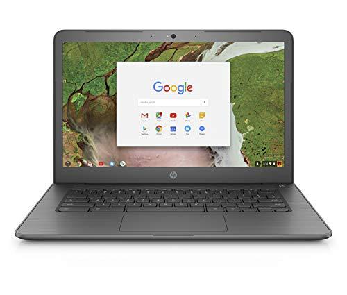 HP Chromebook 14-inch Laptop with 180-degree Hinge, Intel Celeron N3350 Processor, 4 GB RAM, 16 GB eMMC Storage, Chrome OS (14-ca020nr, Gray)