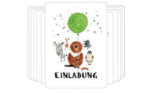 Einladungskarten 12er Set Kindergeburtstag Party für Mädchen und Jungen - Handmade in Hamburg von Pablo & FRIENDS - Postkarte Einladung Kartenset für Kinder Geburtstag