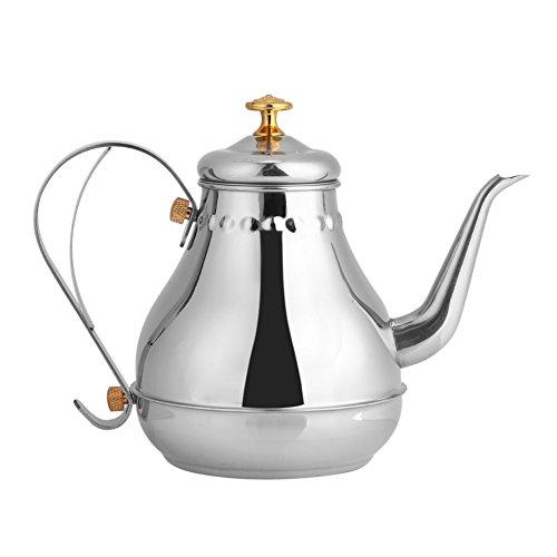Teekanne mit Filter Tetera Vintage Teekanne Handbrüh-Wasserkessel Kaffeekessel mit Schwanenhalsausguss, Edelstahl Kaffeekanne Topf Indoor Pour Over Drip Kaffee Wasserkocher 1.2L