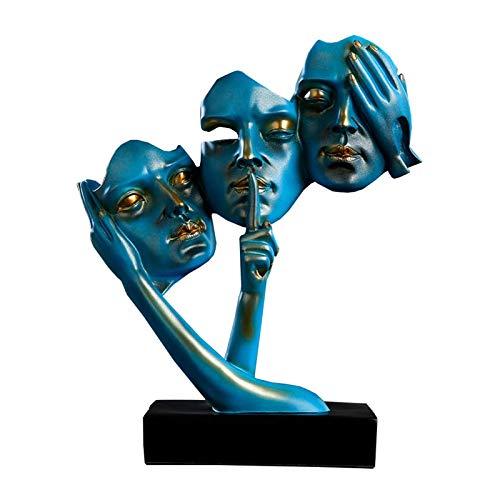 Siunwdiy Abstrakte Statue Dekoration,Menschliche Ornamente,Skulptur Der DREI Weisen Männer Wie DREI Weise Affen, Akzente, See No Evil, Hear No Evil, Speak No Evi,Blau