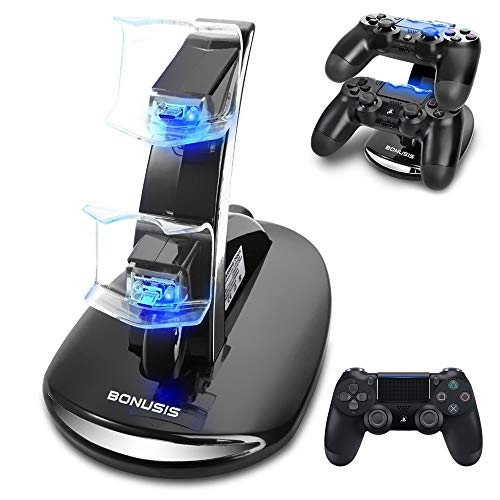 BONUSIS PS4 Controller Ladestation PS4-Controller-Ladegerät Dual-USB-Lade-Ladegerät Docking Station Stand mit LED-Anzeige für Sony Playstation 4 PS4 / PS4 Pro / PS4 Slim Controller [Schwarz]
