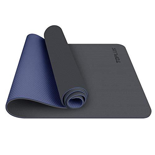 TOPLUS Esterilla Yoga Antideslizante Alfombrilla de Yoga Esterilla Pilates Esterilla Deporte- con Correa de Hombro 183cm x 61cm (Gris+Azul Oscuro)
