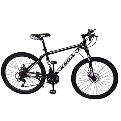 Qianglin Junior Aluminum Full Mountain Bike,Stone Mountain 26'' 21-Speed Bicycle,Mens/Womens Hybrid Road Bike Full Suspension Outroad Bicycle for Adult/Teen Student Urban Commuter(US Stock)