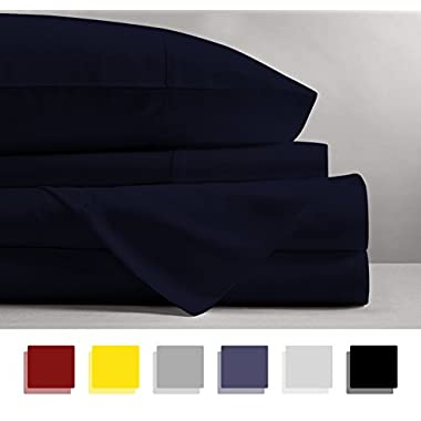 Mayfair Linen 100% EGYPTIAN COTTON Sheets, NAVY BLUE QUEEN Sheets Set, 800 THREAD COUNT Long Staple Cotton, SATEEN Weave for Soft and Silky Feel, Fits Mattress upto 18'' DEEP Pocket