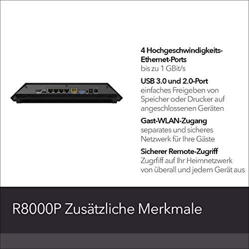 Netgear X6S Nighthawk R8000PWLAN Router AC4000 (Tri-Band, bis zu 4000 MBit/s, Abdeckung bis 200m² & 55 Geräte, 4x 1G LAN- & 2xUSB-Ports, inkl. 30 Tage Circle Kinderschutz & Armor Cyber-Security)