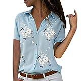 Xmiral Camicetta Pullover Top Camicia Donna Taglie Forti Stampa Scollo a V Bottone Stampato (M,2- Azzurro)