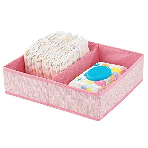 mDesign Organizer per fasciatoio – Ottima scatola portaoggetti in tessuto per pannolini, salviette umidificate ecc. – Ideale contenitore giocattoli con 2 scomparti – rosa