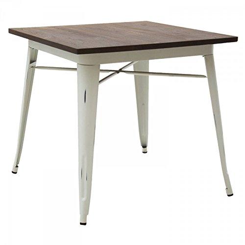 Table Design Moderne carré en métal Plan en Bois
