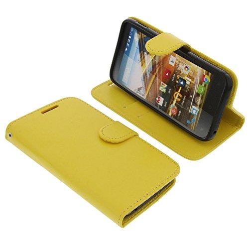 foto-kontor Tasche für Archos 50C Neon Book Style Gelb Schutz Hülle Buch