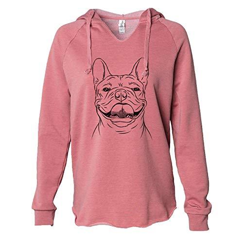 Inkopious Gaston The French Bulldog - Cali Wave Hooded Sweatshirt - Dusty Rose XL