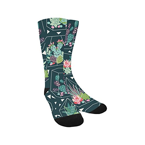 Unique Debora Custom Hosiery Knee-High Socks Leg Warmers for Unisex with Seamless Pattern With Succulents And Cactuse