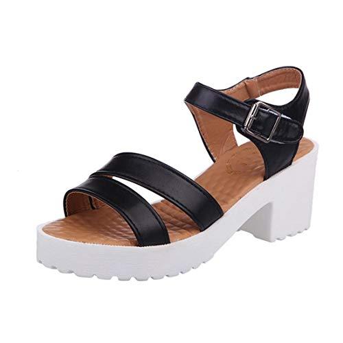 Mujer Tobillo Correa Sandalias Verano Tacones Altos Bloque tacón Plataforma Zapatos de la Puntera Apertura de la Punta de Gladiador Zapatos de tacón