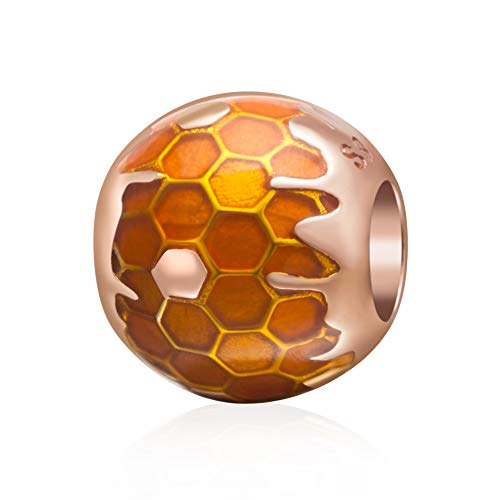 Rose Gold Honeycomb Charms 925 Sterling Silver Honey Ball Charms Fits 3mm Snake Chain Bracelet
