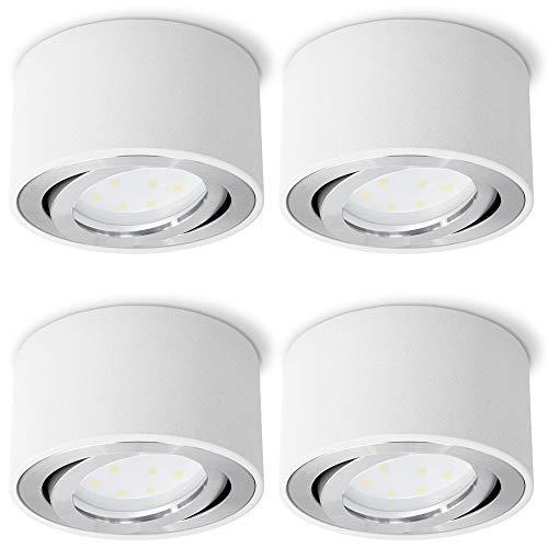 SSC-LUXon CELI-1W LED Aufbauspot weiß rund 4er Set - flach & schwenkbar - 4x Aufbaustrahler inkl. LED Modul 5W warmweiß 230V