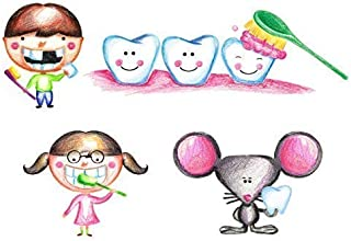Dental Office Decorations for Kids Wall Decal Stickers Pediatric Dental Supplies Decor Vinyl Set of 4 Large Removable Reusable Decals Easy to Apply Includes Boy and Girl Brushing Teeth Mouse