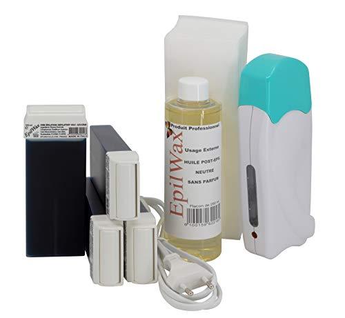 Epilwax Kit Depilacion Calentador de Cera Roll On Tibia Fundidor Electrico Profesional...
