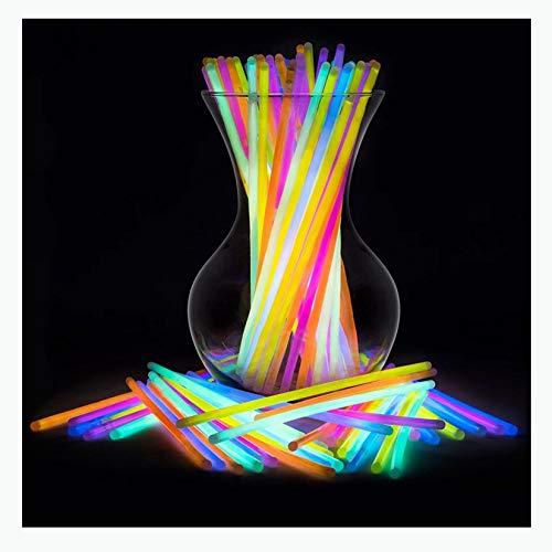 WZPG 100pcsglow Sticks, Sticks Glow Party Supplies, Pulsera Collar Neon Lights, Adecuado para árboles de Navidad, Iglesia/Escuela Eventos de recaudación de Fondos, Fiestas, Bodas