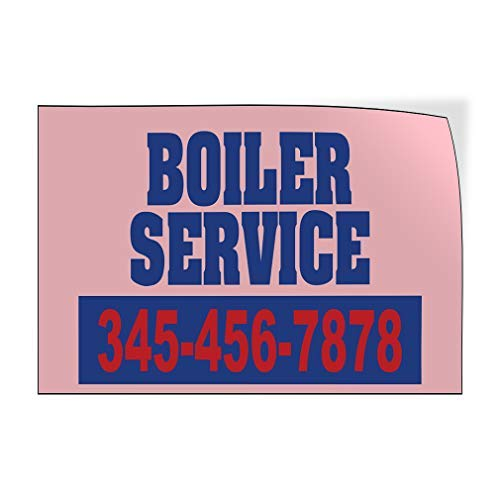 qidushop Boiler Service Telefoonnummer Aangepaste Deur Decals Vinyl Stickers Business Outdoor Blauw 20 x 30 Metalen Decor Metalen Tin Signs Outdoor Teken Verjaardagscadeau Grappig Teken Muur Art Decoratieve