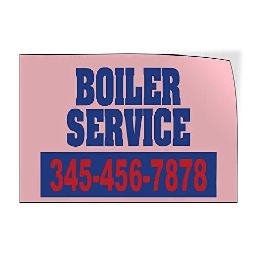 qidushop Boiler Service Telefoonnummer Aangepaste Deur Decals Vinyl Stickers Business Outdoor Blauw 20 x 30 Metalen Decor Metalen Tin Signs Outdoor Teken Verjaardagscadeau Grappig Teken Muur Art Decoratieve